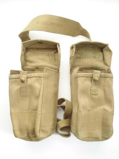 WW2 British P'37 Webbing Auxiliary Pouches, 1941 Dated