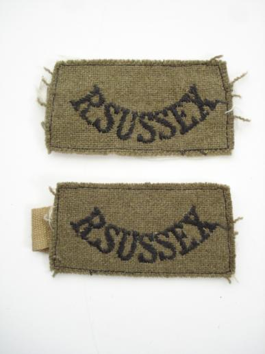 Pair Of WW2 Royal Sussex Regt Shoulder Titles